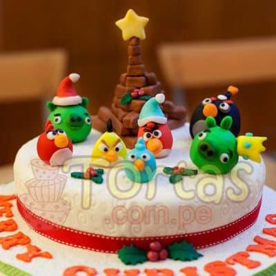 AngryBird Navidad - Codigo:TNA05 - Detalles: Keke ingles bañado con manjar blanco y decorado enteramente en masa elástica, primer piso de 20cm de diámetro incluye detalles segun imagen.  - - Para mayores informes llamenos al Telf: 225-5120 o 4760-753.