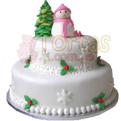 Torta de 2 Pisos Muñeco de Nieve - Codigo:TNA07 - Detalles: Deliciosa Torta de queque ingles forrada en masa elástica. La torta esta compuesta por un queque de 20cm de diámetro y un segundo piso de 13 cm de diámetro. Incluye 2 figuras modeladas en masa elástica: un  hombre de nieve y un arbolito de navidad.  - - Para mayores informes llamenos al Telf: 225-5120 o 4760-753.