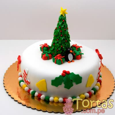 Torta Arbol Navidad - Codigo:TNA08 - Detalles: Keke ingles bañado en manjar blanco y forrado en masa elastica, incluye diseño segun imagen. Medidas: 15cm de diametro  incluye arbol de azucar  - - Para mayores informes llamenos al Telf: 225-5120 o 4760-753.