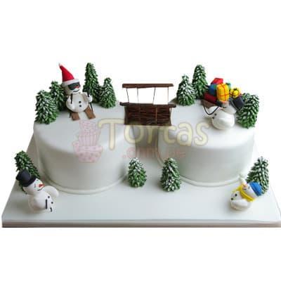 Torta Mu�eco de nieve - Codigo:TNA15 - Detalles: 2 exquisitas tortas de 14 cm de di�metro forradas finamente en masa el�stica con hermosos dise�os navide�os.   - - Para mayores informes llamenos al Telf: 225-5120 o 4760-753.
