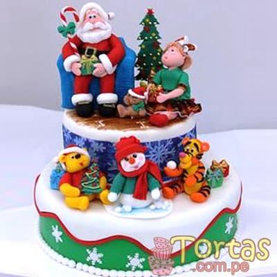 Torta Navidad 16 - Codigo:TNA16 - Detalles: Keke ingles bañado en manjar blanco y forrado en masa elastica, incluye diseño segun imagen. Medidas: 20cm de diametro primer piso, 15cm de diametro segundo piso. Incluye muñecos y dettalles en azucar - - Para mayores informes llamenos al Telf: 225-5120 o 4760-753.