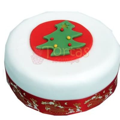 Torta Redonda navidad - Codigo:TNA17 - Detalles: Deliciosa torta de 14 cm de diámetro cubierta con una fina masa elástica. Rinde 9 porciones. Viene en una base de tecnopor cubierta con papel de aluminio. Solicitar con 36 horas utiles de anticipacion. - - Para mayores informes llamenos al Telf: 225-5120 o 4760-753.