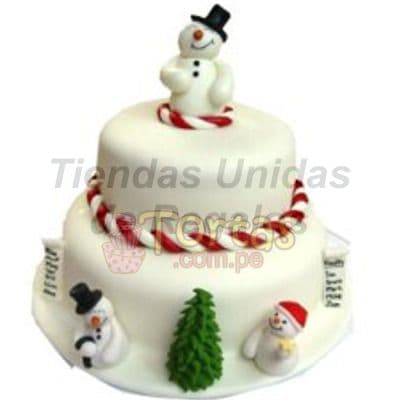 Torta de 2 Pisos Muñecos de Nieves - Codigo:TNA19 - Detalles: Deliciosa torta navideña de 2 pisos, con hermosos detalles de muñecos de nieve y finamente forrados en masa elástica. Siendo el primer nivel de 20 cm. De diámetro y el segundo nivel de 14 cm. de diámetro. Queque ingles relleno con pasas. - - Para mayores informes llamenos al Telf: 225-5120 o 4760-753.