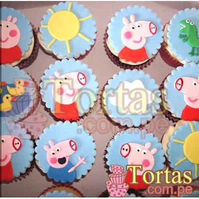 Muffins Peppa 06 - Codigo:TPE06 - Detalles: Deliciosos 12 muffins de vainilla con el diseño de cara de Peppa en masa elastica.  - - Para mayores informes llamenos al Telf: 225-5120 o 4760-753.