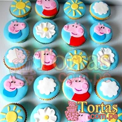 Muffins Peppa 08 - Codigo:TPE08 - Detalles: Deliciosos 20 muffins de vainilla con el diseño de cara de Peppa en masa elastica.  - - Para mayores informes llamenos al Telf: 225-5120 o 4760-753.