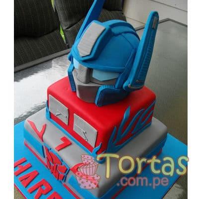 Tortas.com.pe - Torta Optimus Prime 08 - Codigo:TRF08 - Detalles: Torta de keke De Vainilla , ba�ada con manjar blanco y forrada con masa el�stica. incluye dise�o seg�n imagen. Tama�o: 25cm el primer piso, 20cm el segundo piso y cabeza de Optimus prime sobre el segundo piso. Incluye base de masa elastica. - - Para mayores informes llamenos al Telf: 225-5120 o 476-0753.