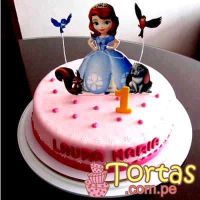 Princesa Sofia Cake 02 - Codigo:TSI02 - Detalles: Deliciosa torta de keke ingles, bañado con manjar blanco y forrado con masa elástica. 20cm de diametro, incluye impresion no comestible de la Princesa segun imagen. - - Para mayores informes llamenos al Telf: 225-5120 o 4760-753.