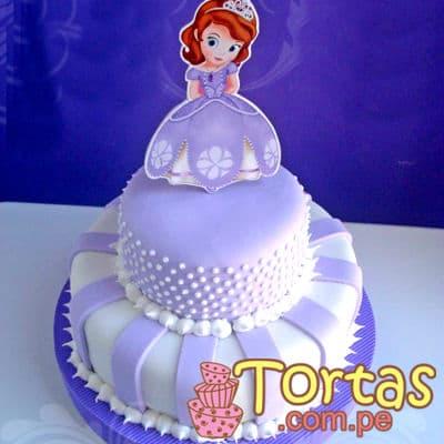 Torta Princesa Sofia 07 - Codigo:TSI07 - Detalles: Deliciosa torta de keke ingles, bañado con manjar blanco y forrado con masa elástica. Primer piso de 20cm de diametro, segundo piso de 15cm de diametro, incluye impresion no comestible segun imagen. - - Para mayores informes llamenos al Telf: 225-5120 o 4760-753.