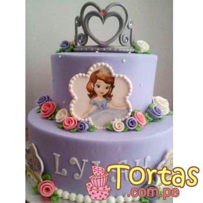 Deliregalos.com - Torta Princesa Sofia 09 - Codigo:TSI09 - Detalles: Deliciosa torta de keke ingles, ba�ado con manjar blanco y forrado con masa el�stica. Primer piso de 20cm de diametro, segundo piso de 15cm de diametro. Incluye Corona y fotoimpresion comestible de princesa sofia.  - - Para mayores informes llamenos al Telf: 225-5120 o 476-0753.