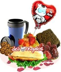 Desayuno o lonche: Buenisimo - Codigo:VLN05 - Detalles: Bandeja de Cart�n ecol�gico conteniendo: Jarra termica con 400ml de cafe, ensalada de frutas, 4 galletas de chispas de chocolate, Sandwich de lomito ahumado en Pan Bimbo especial, tartaleta de Fresas, Brownie, juego de cubiertos, tarjeta de dedicatoria, globo metalico de 20cm con mensaje: Te amo, tarjeta de dedicatoria - - Para mayores informes llamenos al Telf: 225-5120 o 4760-753.