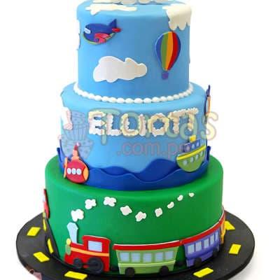 Torta   Torta con tema de tren y barco - Cod:WAS19