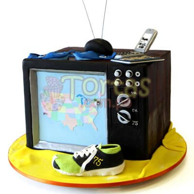 Torta Televisor   Torta con tema de Televisor - Cod:WAS21