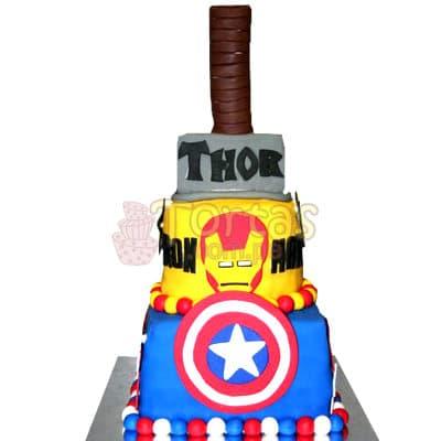 Torta Avengers 32 - Codigo:WBE32 - Detalles: Torta en queque ingles, todo el dise�o en masa elastica, incluye primer piso de 25cm x 25cm, segundo piso de 20cm de diametro, tercer piso de 14cm de diametro simulando el martillo de Thor.  - - Para mayores informes llamenos al Telf: 225-5120 o 4760-753.