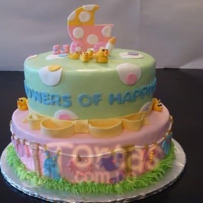 I-quiero.com - Torta Baby Shower 14 - Codigo:WBS14 - Detalles: Deliciosa torta de queque De Vainilla   ba�ado en manjar blanco, forrado y decorado en masa el�stica. De las medidas de 25cm. De di�metro y 15cm. De di�metro. Rinde aproximadamente para 40 porciones.   - - Para mayores informes llamenos al Telf: 225-5120 o 476-0753.