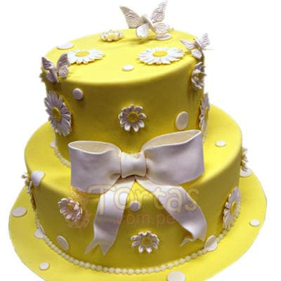 Torta Dama 21 - Codigo:WDA21 - Detalles: Deliciosas  torta relleno de exquisita fruta confitada y pasas,  decorado  finamente en masa elástica,Med. 1 er nivel 25 cmt de diametro, 2do nivel 15 cmt de diametro. - - Para mayores informes llamenos al Telf: 225-5120 o 4760-753.