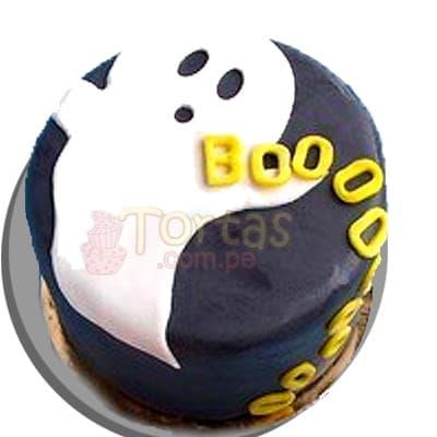 Torta Fantasmita - Codigo:WHL03 - Detalles: Delicioso queque ingles de 10 cm de diámetro o 10x10cm segun disponibilidad, relleno  de frutas y pasas,  decorado con masa elástica según diseño de la imagen. - - Para mayores informes llamenos al Telf: 225-5120 o 4760-753.