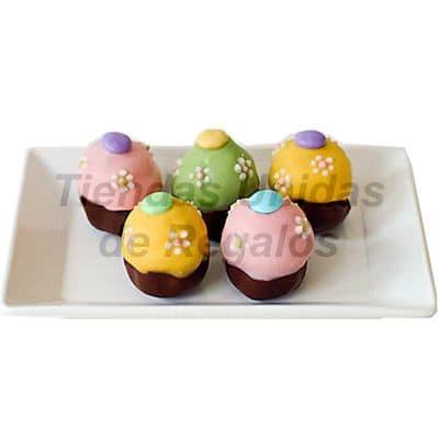 Tortas.com.pe - Muffin Art�stico 05 - Codigo:WMF05 - Detalles: 5 muffins finamente decorados con masa el�stica y figuras representativas de flores. - - Para mayores informes llamenos al Telf: 225-5120 o 476-0753.