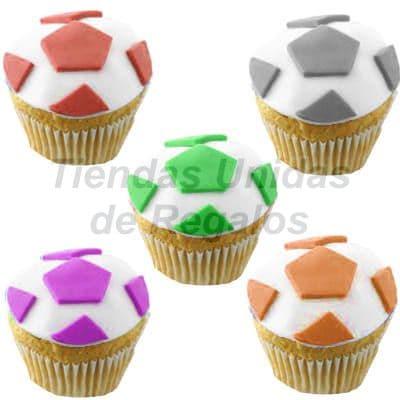 Lafrutita.com - Muffin Art�stico  21 - Codigo:WMF21 - Detalles: 5 muffins finamente decorados con masa el�stica y figuras representativas de pelota de f�tbol. - - Para mayores informes llamenos al Telf: 225-5120 o 476-0753.