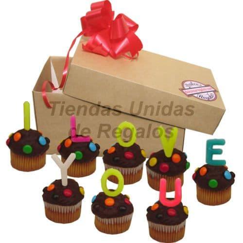 Tortas.com.pe - Muffin  Artistico 25 - Codigo:WMF25 - Detalles: 8 muffins, ba�ados de chocolate y finamente decorados con grageas, con el  mensaje