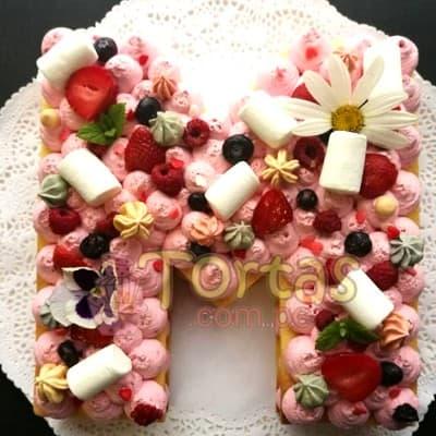 Tortas.com.pe - Tarta Letras y Flores 01 - Codigo:WNU01 - Detalles: Delicioso keke de vainilla relleno con capas de buttercream incluye tres capas de keke y dos de buttercream. Incluye decoracion segun imagen. Letra Personalizable. Tama�o 20x30cm.  - - Para mayores informes llamenos al Telf: 225-5120 o 476-0753.