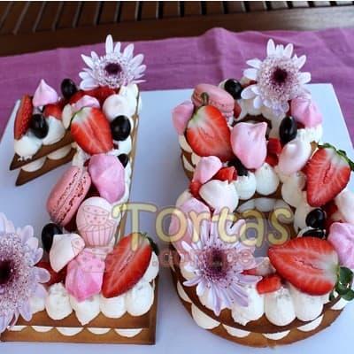 Tortas.com.pe - Torta Flores y Numeros 12 - Codigo:WNU12 - Detalles: Deliciosos kekes de vainilla relleno con capas de buttercream incluye tres capas de keke y dos de buttercream. Incluye decoracion segun imagen. Letra Personalizable. Tama�o 20x15cm.  cada uno - - Para mayores informes llamenos al Telf: 225-5120 o 476-0753.