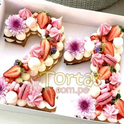 Tortas.com.pe - Torta fllres y numeros 14 - Codigo:WNU14 - Detalles: Deliciosos kekes de vainilla relleno con capas de buttercream incluye tres capas de keke y dos de buttercream. Incluye decoracion segun imagen. Letra Personalizable. Tama�o 20x10cm.  cada uno - - Para mayores informes llamenos al Telf: 225-5120 o 476-0753.