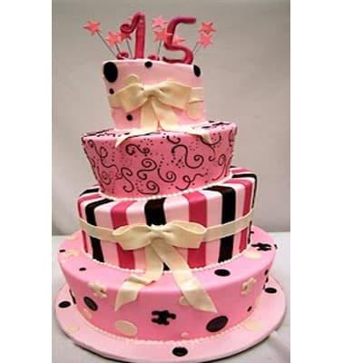 Deliregalos.com - Torta quincea�era 42 - Codigo:WQC42 - Detalles: Deliciosa torta de keke De Vainilla   , ba�ada con manjar blanco y forrada con masa elastica con las siguientes medidas: 1er piso de 35cm de di�metro, 2do piso de 25cm de di�metro, 3er piso de 20cm de di�metro, 4to piso de 15cm de di�metro, dise�o seg�n imagen, incluye lazos, n�mero modelado - - Para mayores informes llamenos al Telf: 225-5120 o 476-0753.