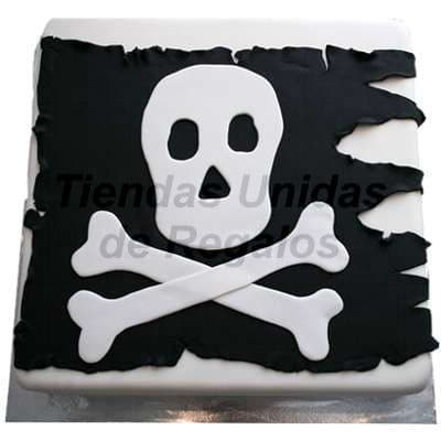 Diloconrosas.com - Torta Pirata - Codigo:TRR24 - Detalles: Delicioso queque De Vainilla   confitada el decorado es a base de masa el�stica. La torta tiene el modelo de Bandera Pirata. Medidas: 25cm x 25cm. o 25cm de diametro.   - - Para mayores informes llamenos al Telf: 225-5120 o 476-0753.