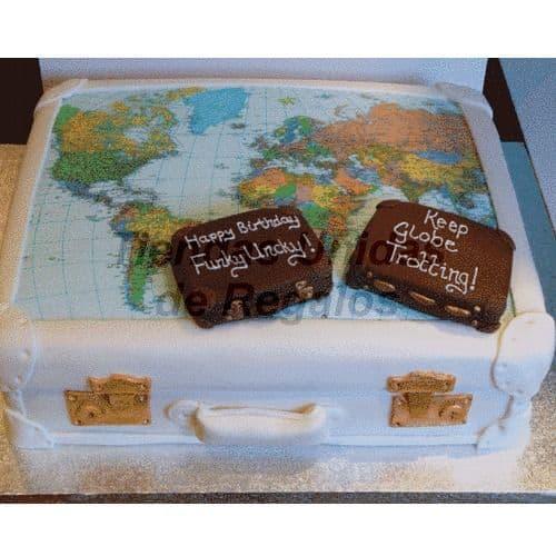 Diloconrosas.com - Torta  Viajero Mundial - Codigo:TRR29 - Detalles: Deliciosa torta de keke De Vainilla, rellena con fruta confitada. Medidas 20cm x 30cm, incluye foto en papel comestible . - - Para mayores informes llamenos al Telf: 225-5120 o 476-0753.