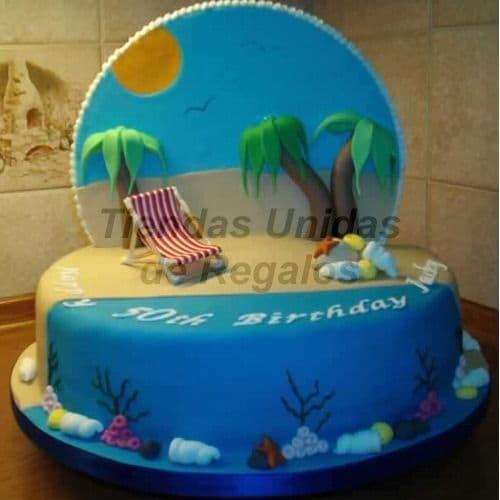 Diloconrosas.com - Torta Playa - Codigo:TRR50 - Detalles: Deliciosa Torta de Cake De Vainilla rellena con fruta confitada cubierta con Masa el�stica.  Esta compuesta por 1 queque de 25cm de diametro, incluye decoracion y figura en la parte de atras.  - - Para mayores informes llamenos al Telf: 225-5120 o 476-0753.