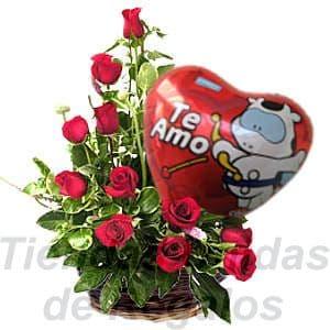 Lafrutita.com - Elegancia con Rosas  - Codigo:SBR08 - Detalles: Elegante arreglo compuesto por 10 rosas importadas, plantas y follajes de estaci�n, globo met�lico Te Amo, todo en una linda base de ceramica, incluye una tarjeta de dedicatoria. - - Para mayores informes llamenos al Telf: 225-5120 o 476-0753.