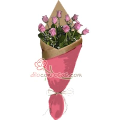 Arreglo de rosas 43 - Codigo:XBR43 - Detalles: Lindo ramo de rosas compuesto de 10 finas rosas importadas, vienen en tono rosado. Incluye tarjeta dedicatoria. Este producto debe ser pedido con 1 día útil de anticipación, de lo contrario la empresa podrá cambiar el color de las rosas para que su pedido llegue el mismo día de la entrega. El ramo viene en papel especial de color e incluye papel celofan en la parte externa   - - Para mayores informes llamenos al Telf: 225-5120 o 4760-753.