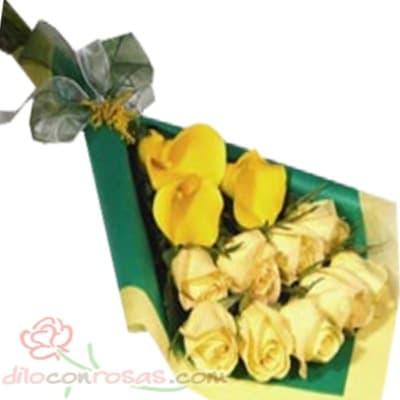 Arreglo de rosas 47 - Codigo:XBR47 - Detalles: Lindo ramo de rosas compuesto de 8 finas rosas en tono amarillo incluye flores de estacion. Este producto deberá ser ordenado con 1 día útil de anticipación, de lo contrario, la empresa podrá cambiar el color de las rosas para que su pedido llegue el mismo día de la entrega.El ramo viene en papel especial de color e incluye papel celofan en la parte externa - - Para mayores informes llamenos al Telf: 225-5120 o 4760-753.