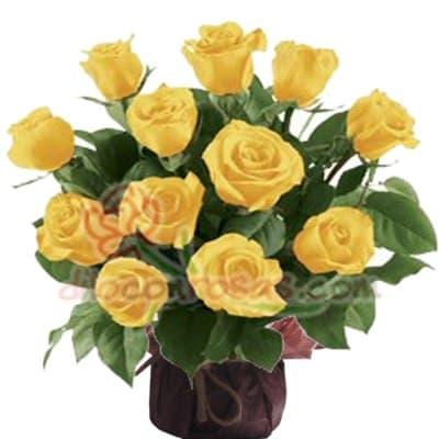 Arreglo de rosas 48 - Codigo:XBR48 - Detalles: Arreglo floral compuesto de 12 finas rosas en tono amarillo, vienen sobre una base de cerámica. Este producto deberá ser pedido con 1 día útil de anticipación, de lo contrario, la empresa podrá cambiar el color de las rosas para que su pedido llegue el mismo día de la entrega. - - Para mayores informes llamenos al Telf: 225-5120 o 4760-753.