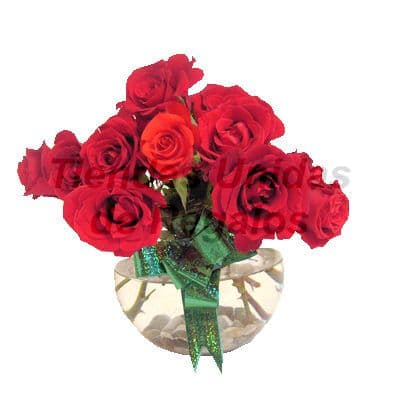 Florero 27 - Codigo:XFR27 - Detalles: Elegante florero de 10 rosas rojas importadas, decorado con lazo verde, incluye tarjeta de dedicatoria. Este pedido se realiza con 24 horas de anticipaci�n. - - Para mayores informes llamenos al Telf: 225-5120 o 4760-753.