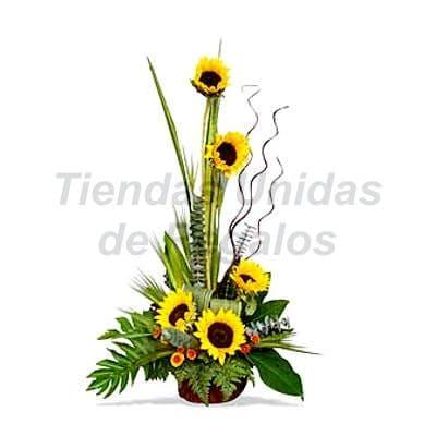 I-quiero.com - Arreglo de  Girasoles 14 - Codigo:XGR14 - Detalles: Este producto contiene:   Hermoso arreglo floral compuesto por 5 girasoles, acompa�ado por plantas y follajes de estaci�n todo en una cesta elegante de mimbre, incluyendo tarjeta de dedicatoria. - - Para mayores informes llamenos al Telf: 225-5120 o 476-0753.